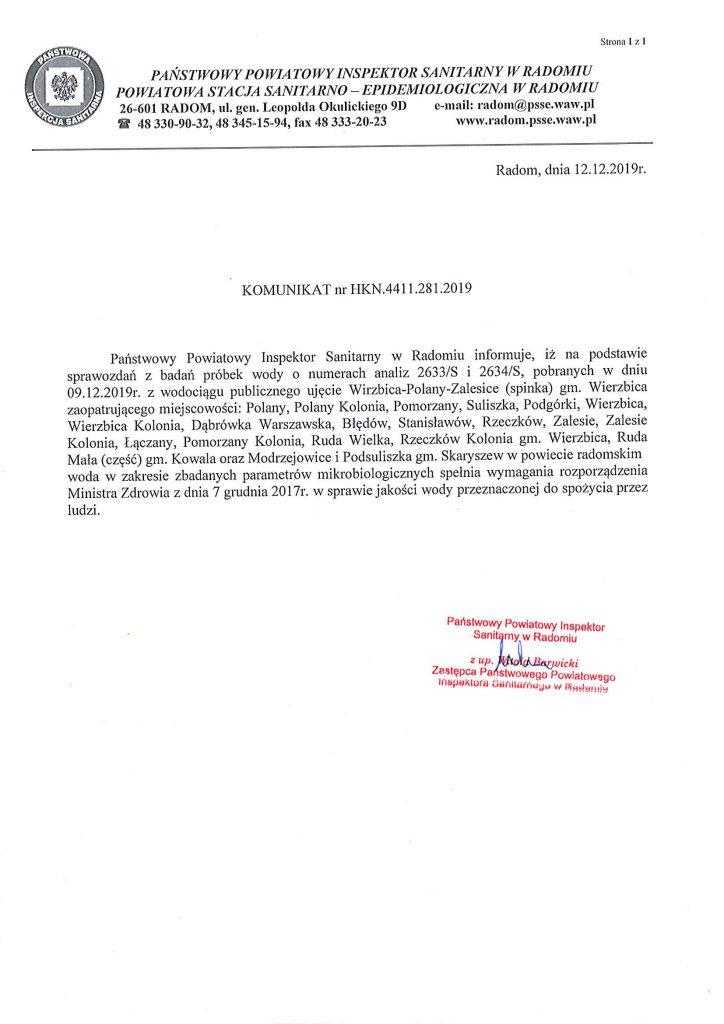 Komunikat 12.12.2019